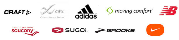 Brands of apparel sold at Fleet Feet.